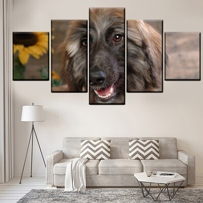 Afghan Hound And Sunflower Multi Canvas Print Wall Art