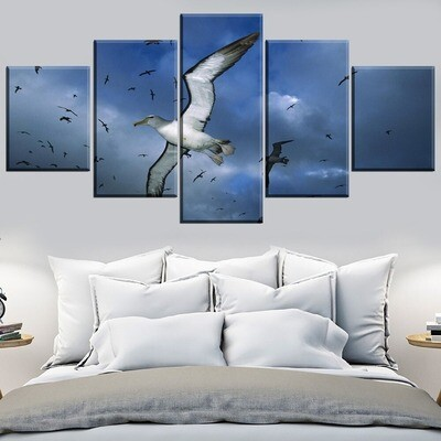 Animal Albatross Multi Canvas Print Wall Art