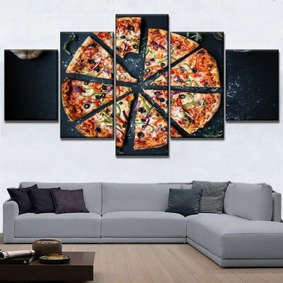 Delicious Pizza Food Multi Canvas Print Wall Art