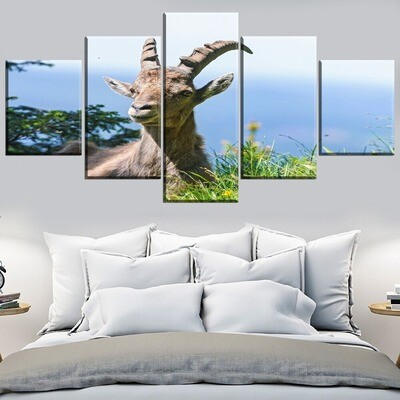 Alpine Goat Multi Canvas Print Wall Art