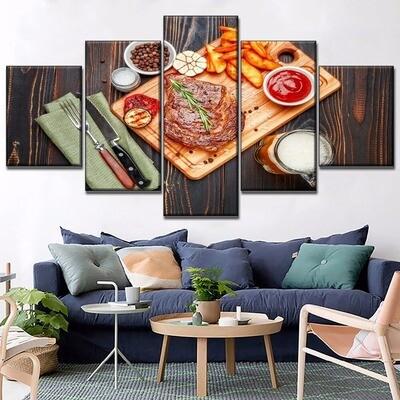 Food Steak And Beer Multi Canvas Print Wall Art