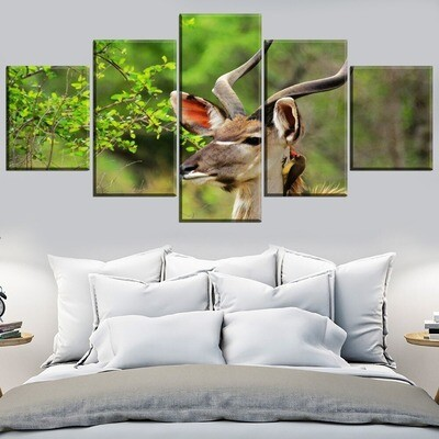 Animal Antelope Multi Canvas Print Wall Art