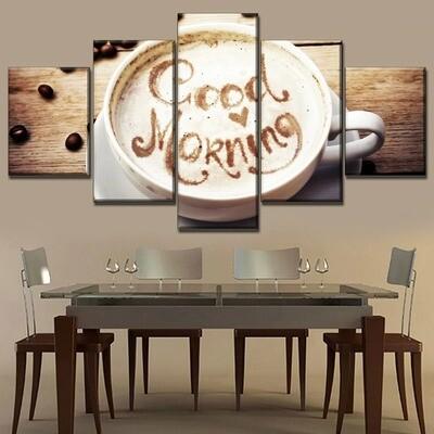 Good Morning White Milk Coffee Multi Canvas Print Wall Art