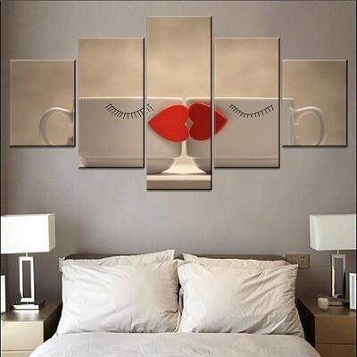 Kiss Lips Love Hearts Interesting Coffee Mugs Multi Canvas Print Wall Art