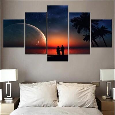 Moon Stars Night Landscape And Lovers Multi Canvas Print Wall Art