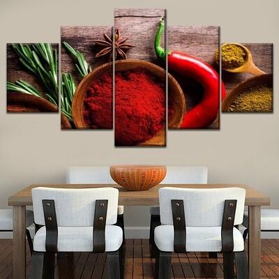 Pepper Spices Vegetables Modular Multi Canvas Print Wall Art