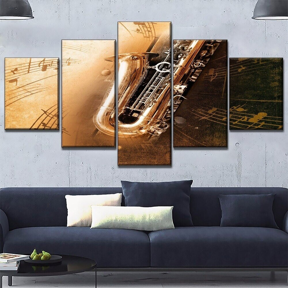 Saxophone Musical Instruments Multi Canvas Print Wall Art