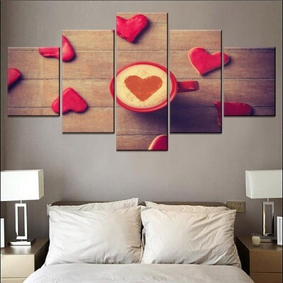 Love Hearts Coffee Mugs Multi Canvas Print Wall Art