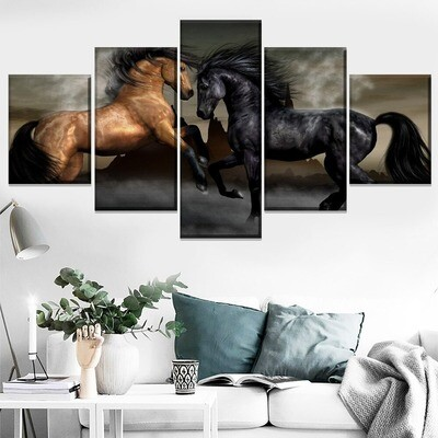 Animal Artistic Horse Multi Canvas Print Wall Art