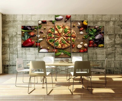 Pizza And Edible Vegetables Restaurant Multi Canvas Print Wall Art