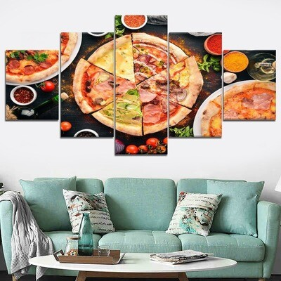 Pizza And Spices Red Wine Draw Multi Canvas Print Wall Art