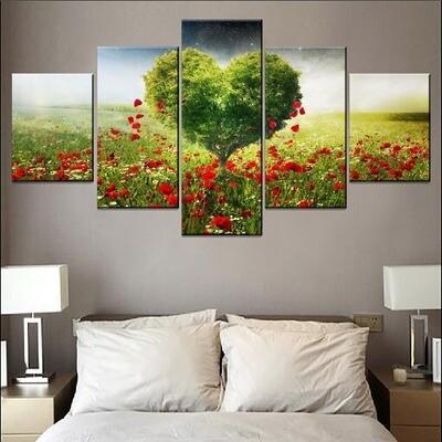 Poppies Petals Heaven Love Heart Green Tree Multi Canvas Print Wall Art