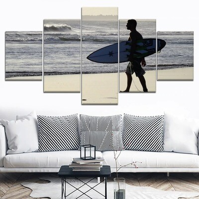 Bali Beach Surfing Sport Surfer Multi Canvas Print Wall Art