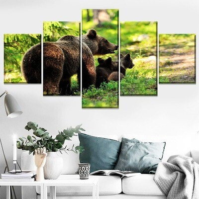 Animal Bear Family Multi Canvas Print Wall Art