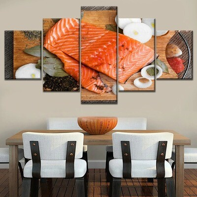 Salmon Meat And Butter Multi Canvas Print Wall Art