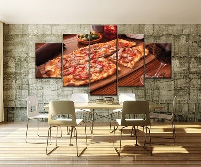 Restaurant And Pizza Shop Multi Canvas Print Wall Art