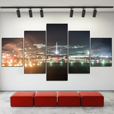 Aircraft Takes Off And Lands At Night Multi Canvas Print Wall Art