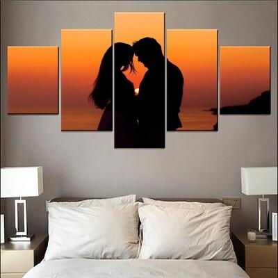 Sunset Landscape Love Couple Multi Canvas Print Wall Art