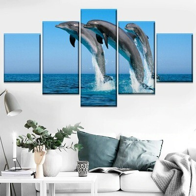 Animal Bottlenose Dolphin Multi Canvas Print Wall Art