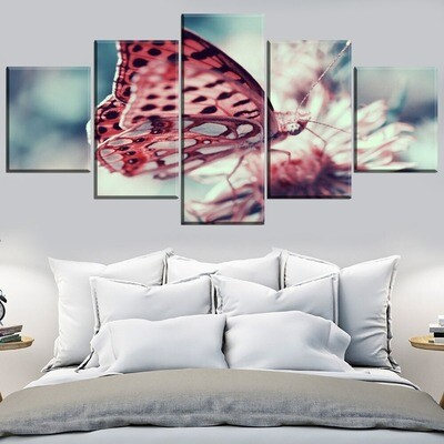 Animal Butterfly Poster Multi Canvas Print Wall Art