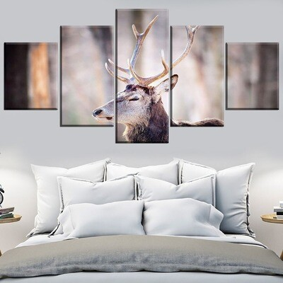 Animal Deer Multi Canvas Print Wall Art