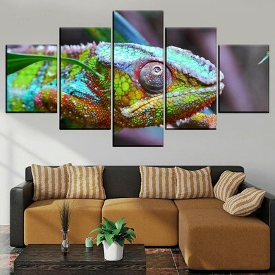 Animal Chameleon Multi Canvas Print Wall Art