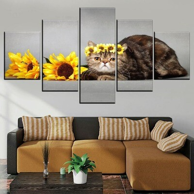 Animal Cat And Sunflower Multi Canvas Print Wall Art