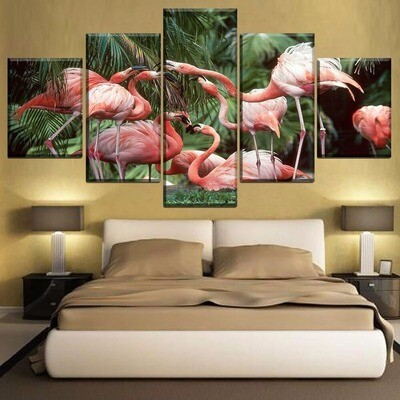 Animal Flamingo Multi Canvas Print Wall Art