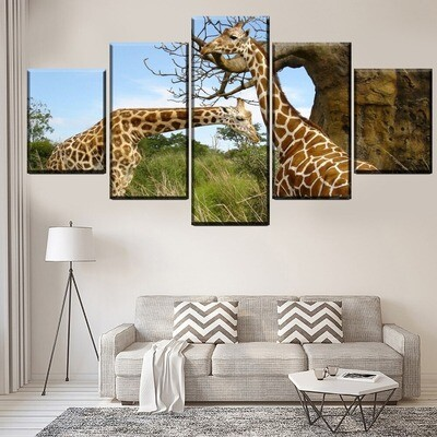 Animal Giraffe Pictures Multi Canvas Print Wall Art