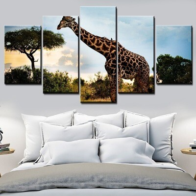 Animal Giraffe Multi Canvas Print Wall Art