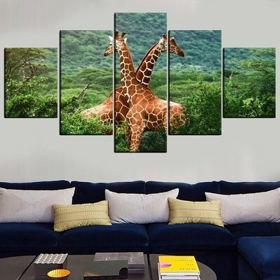 Animal Giraffe Modular Multi Canvas Print Wall Art