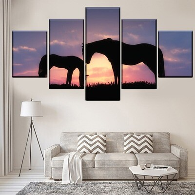 Animal Horse Shadow Multi Canvas Print Wall Art