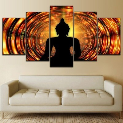 Abstract Artistic Buddha Shadow Multi Canvas Print Wall Art