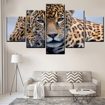 Animal Leopard Multi Canvas Print Wall Art