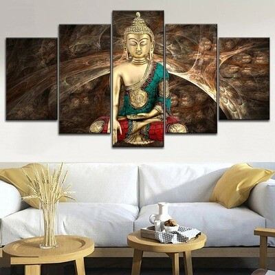 Abstract Retro Zen Buddha Multi Canvas Print Wall Art