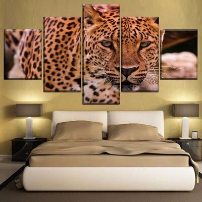 Animal Leopard Gaze Multi Canvas Print Wall Art