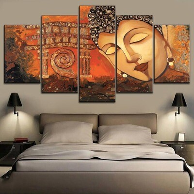 Abstract Retro Buddha Multi Canvas Print Wall Art