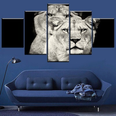 Animal Lion Multi Canvas Print Wall Art