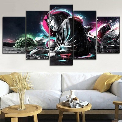 Abstract Colorful Ancient Big Buddha Multi Canvas Print Wall Art