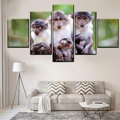 Animal Monkey Poster Multi Canvas Print Wall Art