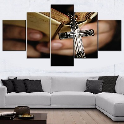 Adult Belief Cross And Book Multi Canvas Print Wall Art