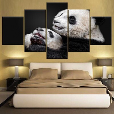 Animal Panda Multi Canvas Print Wall Art