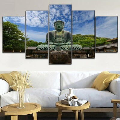 Ancient Stone Buddha Statues Multi Canvas Print Wall Art