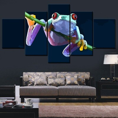 Animal Red Eyed Tree Frog Multi Canvas Print Wall Art