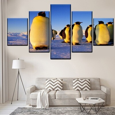 Animal Penguin Multi Canvas Print Wall Art