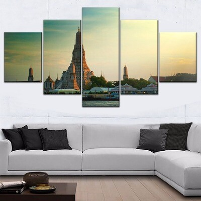 Architecture Asian Temple Multi Canvas Print Wall Art