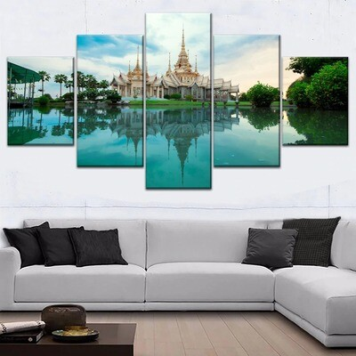 Architecture Temple Lake Reflection Multi Canvas Print Wall Art