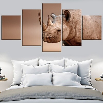 Animal Rhino Multi Canvas Print Wall Art
