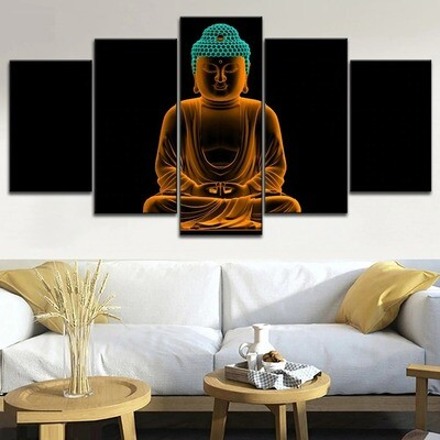 Artistic Gold Buddha Meditation Multi Canvas Print Wall Art