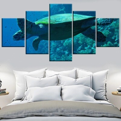 Animal Turtle Multi Canvas Print Wall Art